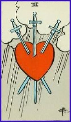 52-Three of Swords Upright Golden Love Tarot Reading – Free
